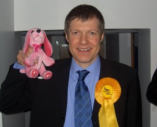 Willie Rennie and a pink dog