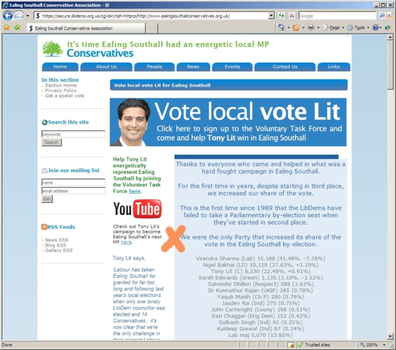 Ealing Conservatives Website On Result Of Ealing Southall Byelection