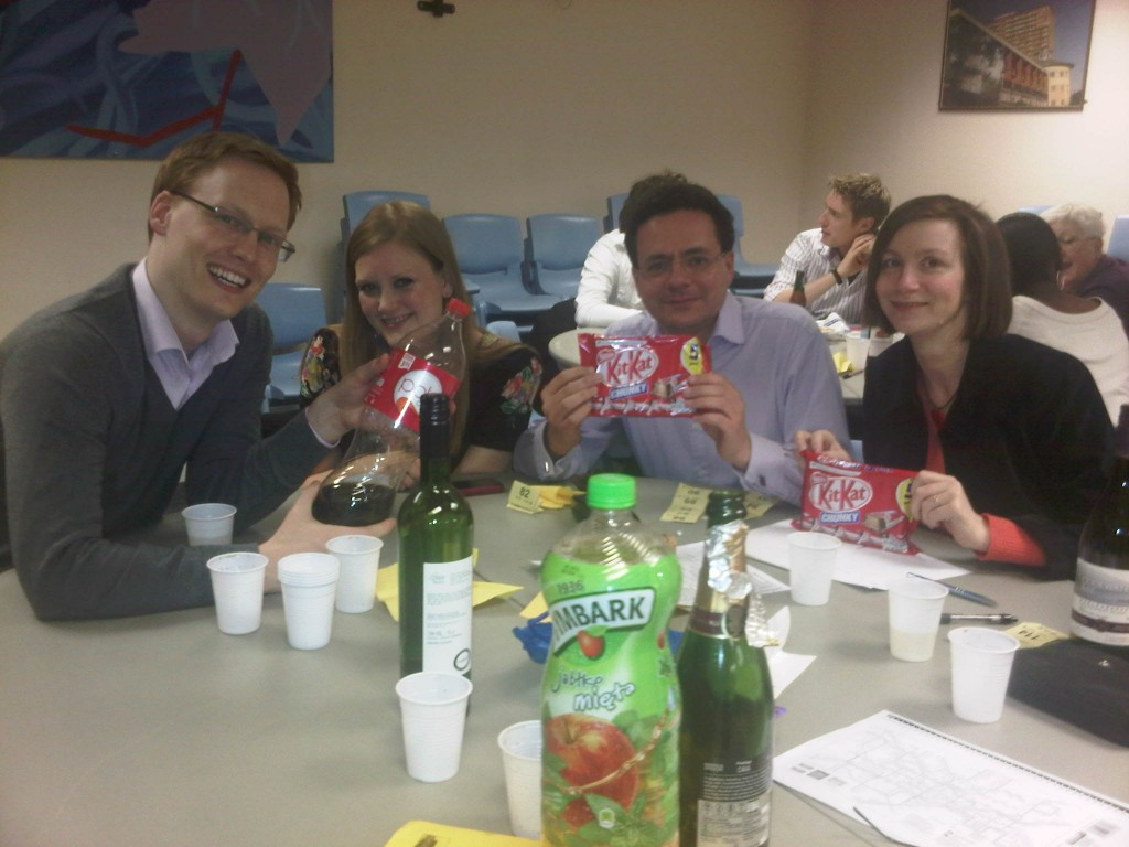 Islington Quiz team with chocolate winnings