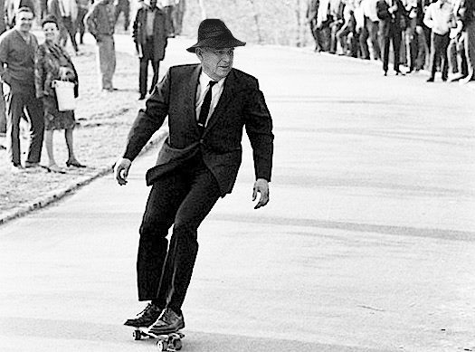 Vince Cable on a skateboard
