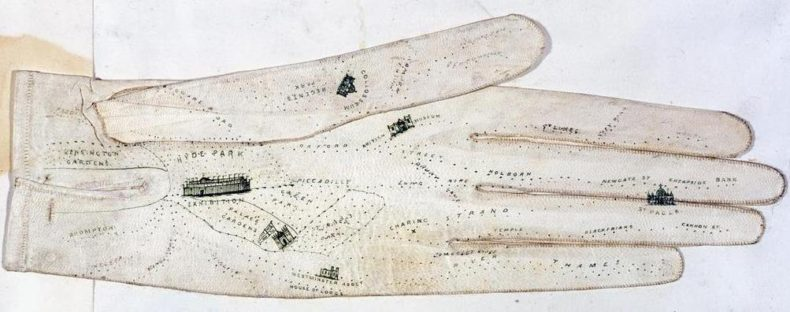 Leather glove with hand painted map of London for the Great Exhibition of 1851