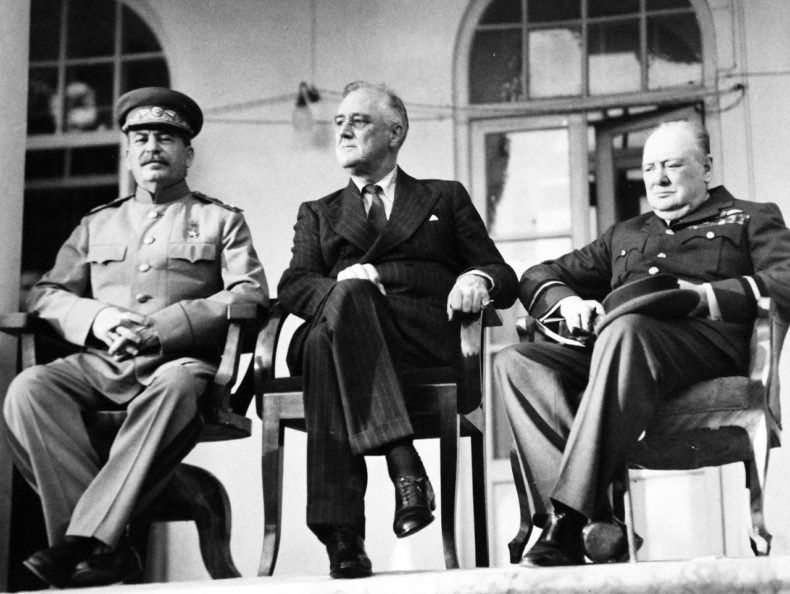 Franklin D Roosvelt with Churchill and Stalin at the Tehran conference - Public Domain photo