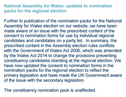 Electoral Commission Bulleting on Welsh nomination papers