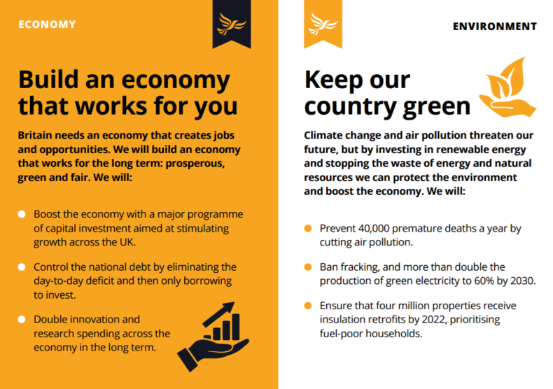 Lib Dem 2017 manifesto redux - economy and environment