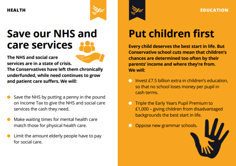 Lib Dem 2017 manifesto redux - health and education