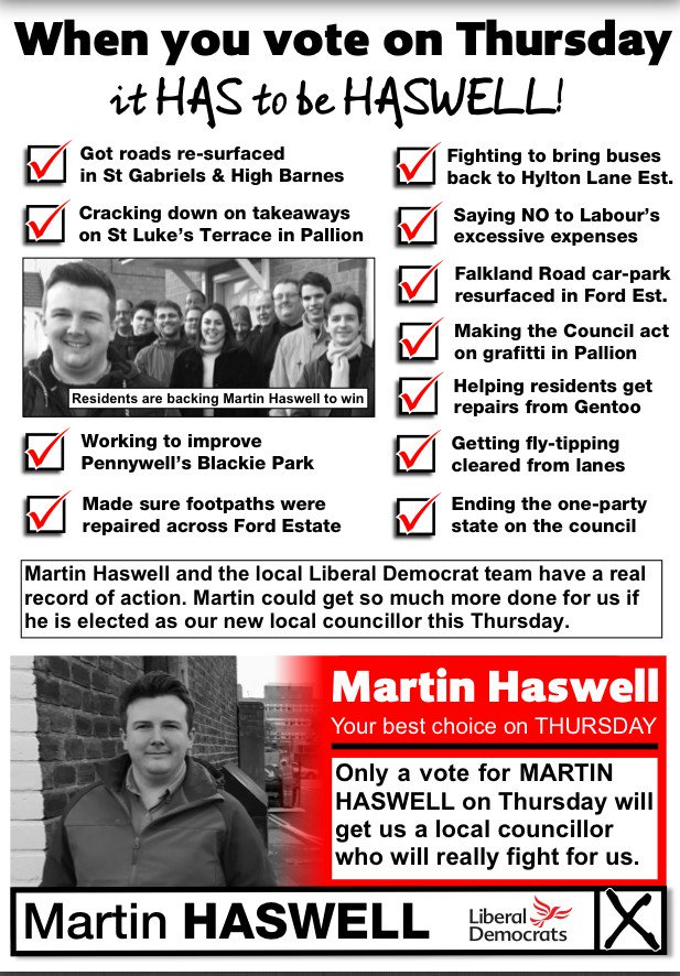 Martin Haswell election leaflet