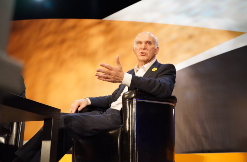 Vince Cable at Lib Dem conference in Southport - photo courtesy of John Russell