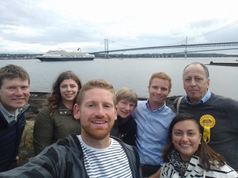Callum Hawthorne and the Lib Dem team in North Queensferry