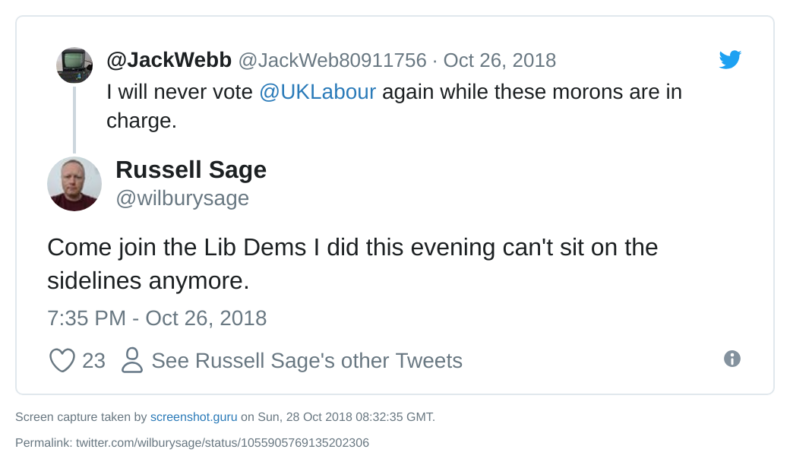 Russell Sage joins Lib Dems