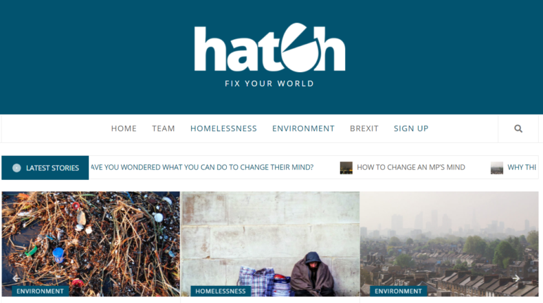 Frontpage of the Hatch website