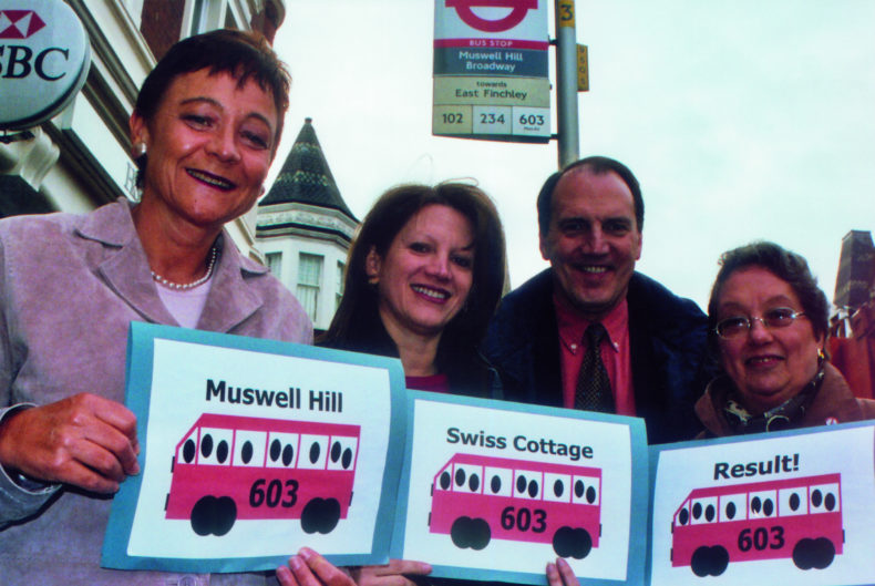 Sarah Ludford - Lynne Featherstone - Simon Hughes - Valerie Silbiger - celebrating successful trial of new bus route