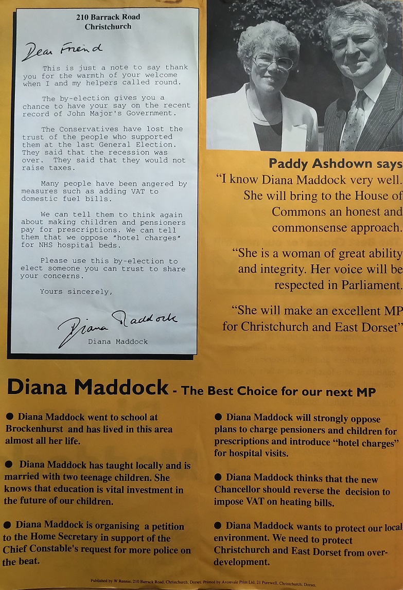 Inside of the calling leaflet for Diana Maddock in her 1993 Christchurch Parliamentary by-election campaign